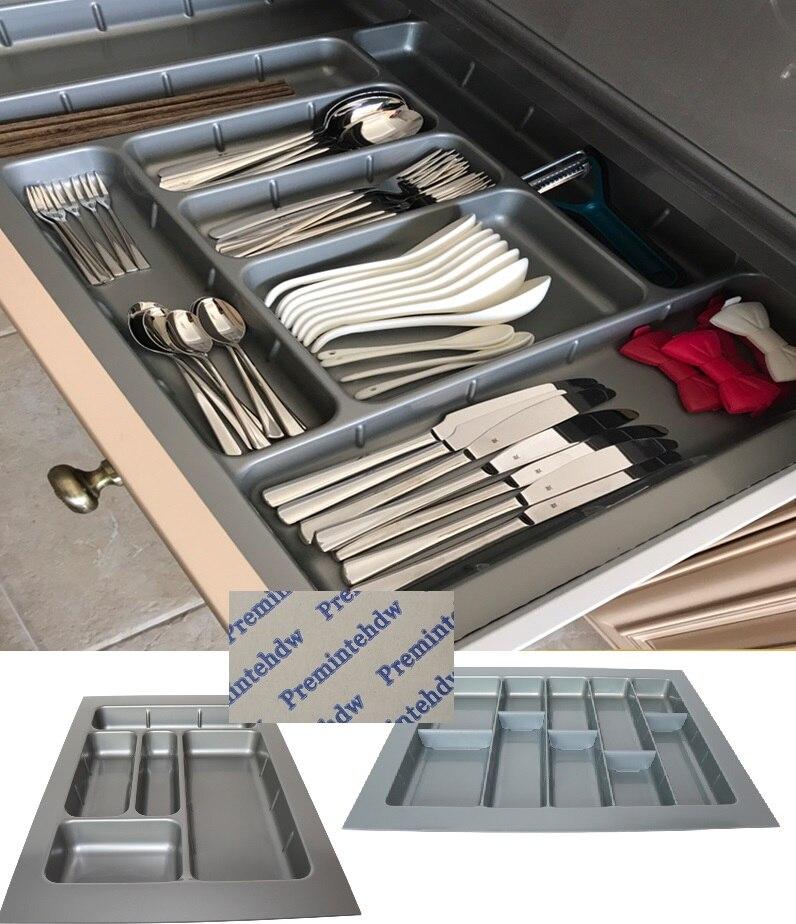 70 cm-100 cm tamaño ABS plástico Cuttable cubertería insertos de la bandeja titular de utensilio equipado cajón de la cocina caja