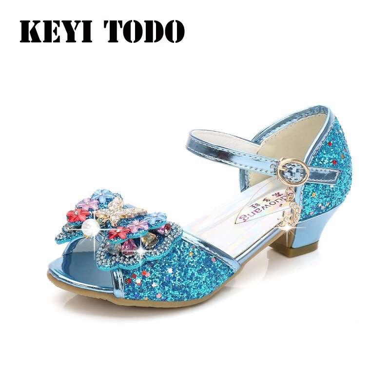 Zapatos de tacón alto con lentejuelas para niña, sandalias de princesa con cabeza de pez para verano, zapatos de cristal, sandalias moradas para niños, tallas 26-38 L151