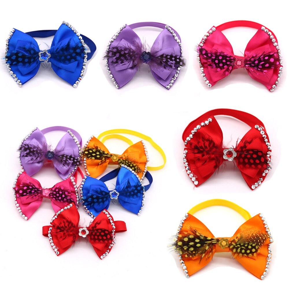 60x-pet-puppy-dog-cat-bow-ties-adjustable-featherrhinestone-bowknot-bowties-dog-accessories-pet-supplies-fit-for-holiday-party