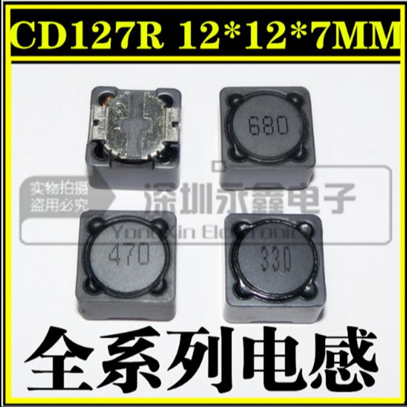 20 unids/lote CD127R CDRH paster inductancia de potencia SMD 12*12*7mm CD127 4.7UH/10UH/15UH/ 22UH/33UH/47UH/68UH/100UH