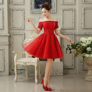 New Short Evening Dresses Red Short Sleeves Off the Shoulder Bride Gown Ball Prom Party Homecoming/Graduation Formal Dress