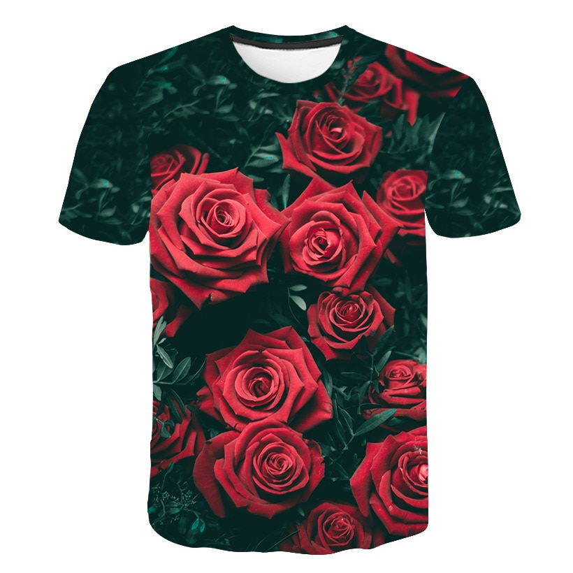 Speciale Aanbieding Nieuwe Mooie Bloem Print T-shirt Casual Stijl Mannen/Vrouwen Zomer T-shirt Sneldrogend 3D afdrukken T-shirt