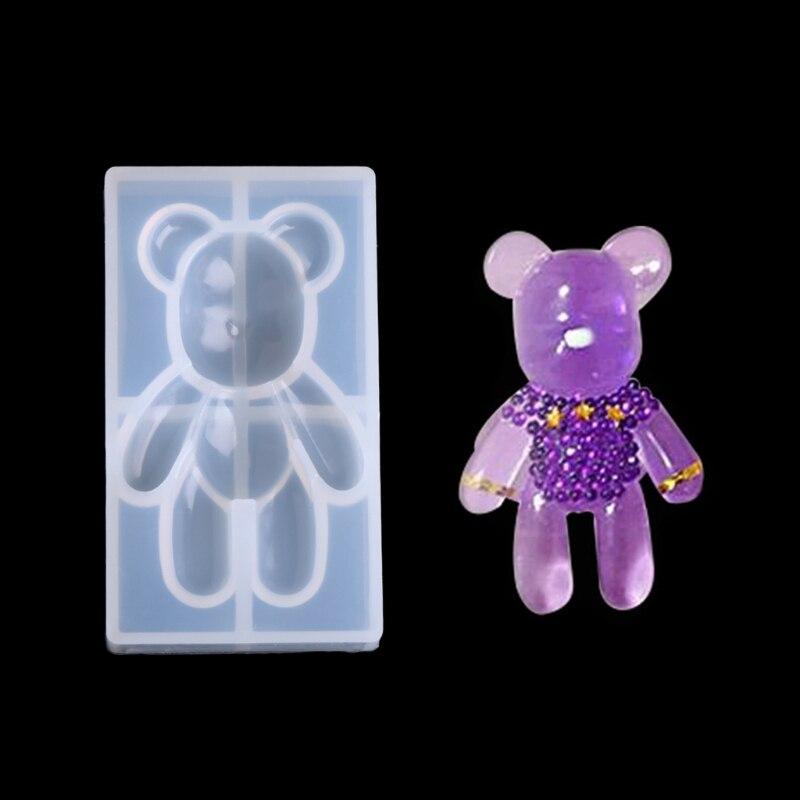Прозрачная силиконовая подвесная форма в форме медведя, инструмент «сделай сам» для изготовления украшений из смолы, торта с мастикой