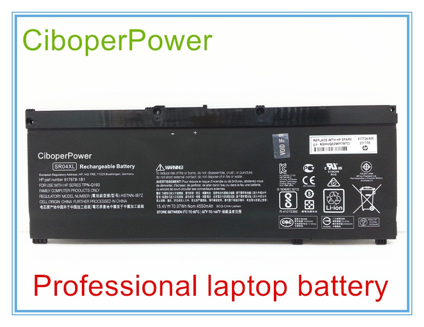 Original Laptop Battery For 917724-855 15-CE015DX SR04XL 70wH 4.55Ah Genuine Battery