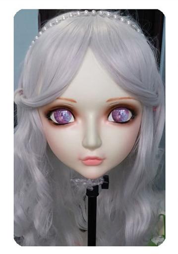 (DM026) Women/Girl Sweet Resin Half Head Kigurumi BJD Mask Cosplay Japanese Anime Lifelike Lolita Mask Crossdressing Sex Doll