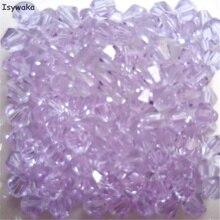 Isywaka Color púrpura agua 100 Uds 4mm Bicone Austria cuentas de cristal encanto cuentas de vidrio espaciador suelto cuenta para hacer joyería DIY