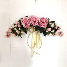 Artificial Silk Flowers Tea Rose Peony Wreaths Mirror Flowers Door Lintel Flower Vine Party Supplies Home Wedding Decoration