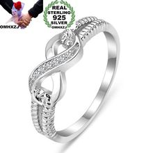 OMHXZJ gros mode européenne femme fille fête mariage cadeau blanc chanceux 8 AAA Zircon 925 bague en argent Sterling RR152