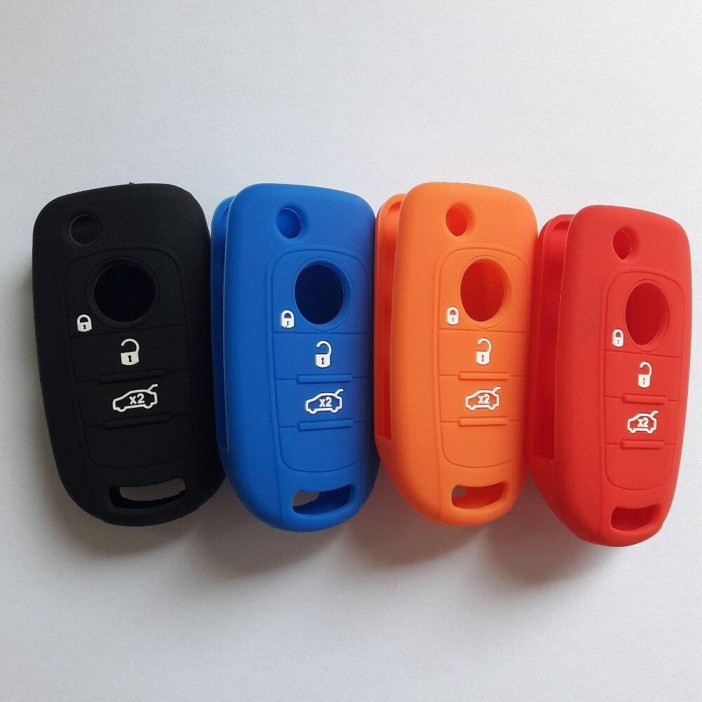 Caso chave do carro capa para fiat 500x toro tipo egea 3 botão remoto titular flip dobrável protetor de silicone para dodge neon chave