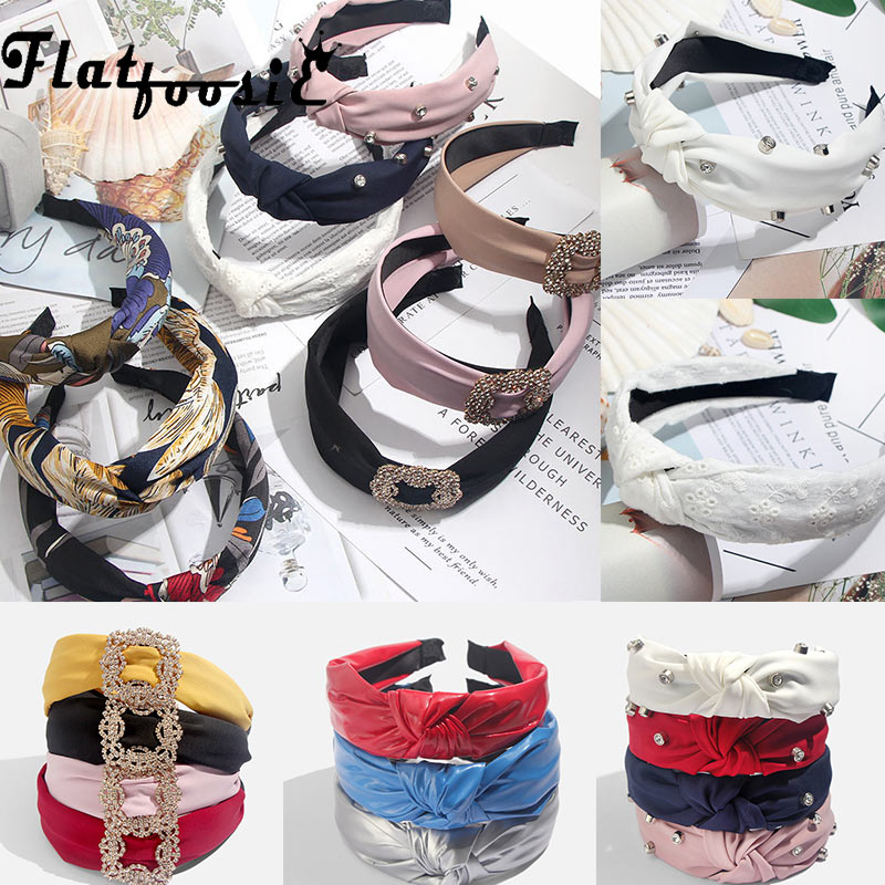 Flatfoosie Moda Bowknot Hairbands Desporto Mulheres Headwear Turbante Cabeça Cabelo Aro Yoga Simples Doce Menina Headband Do Cabelo Acessórios