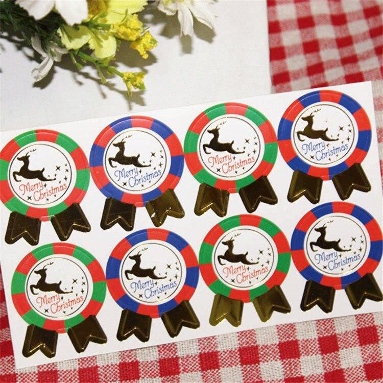 8pcs/sheet Christmas Elk Sealing Sticker Vintage Colourful Stamp DIY Gifts Posted Baking Decor label Multifunction Santa Claus
