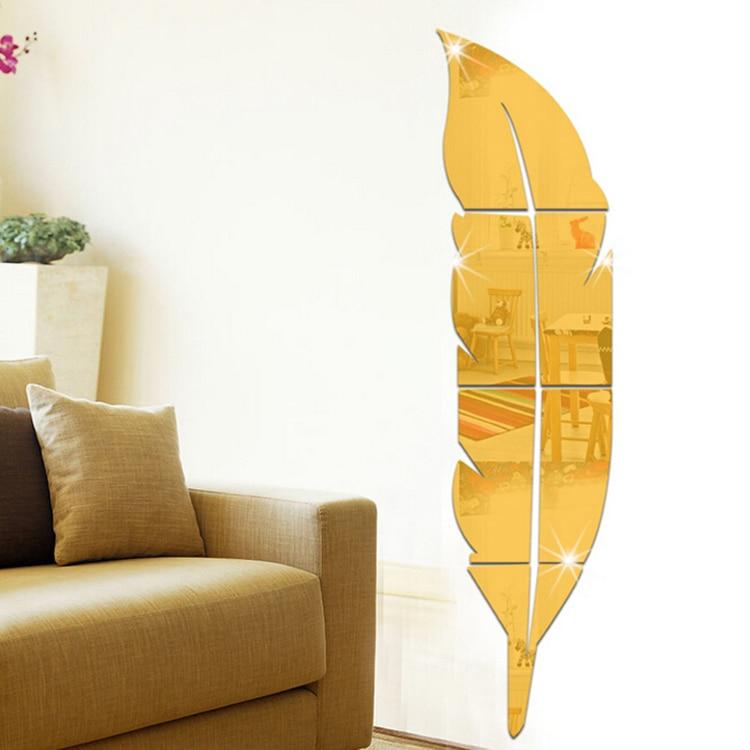 2017 Venda Quente DIY Modern Plume Pena Estilo Espelho Acrílico Adesivos de Parede Decalque Paredes Sala Home Decor
