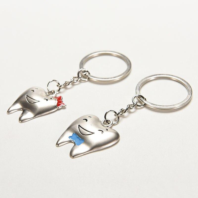 2 шт. = 1 пара брелок для ключей с мультяшными зубами украшение для стоматолога брелки из нержавеющей стали форма зуба стоматологическая клин...
