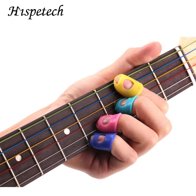 Hispetech 4PCS Left Hand Guitar Pick Finger Sleeve Anti-skid Anti-ironing Needle Reading Book Silica Gel Elastic Fingers Sleeves