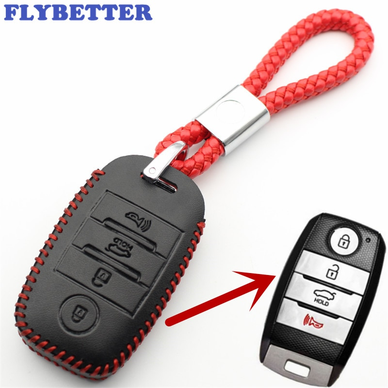 Flybetter couro genuíno 4 botão keyless entrada inteligente caso chave capa para kia sorento/rio/rio5/optima l100