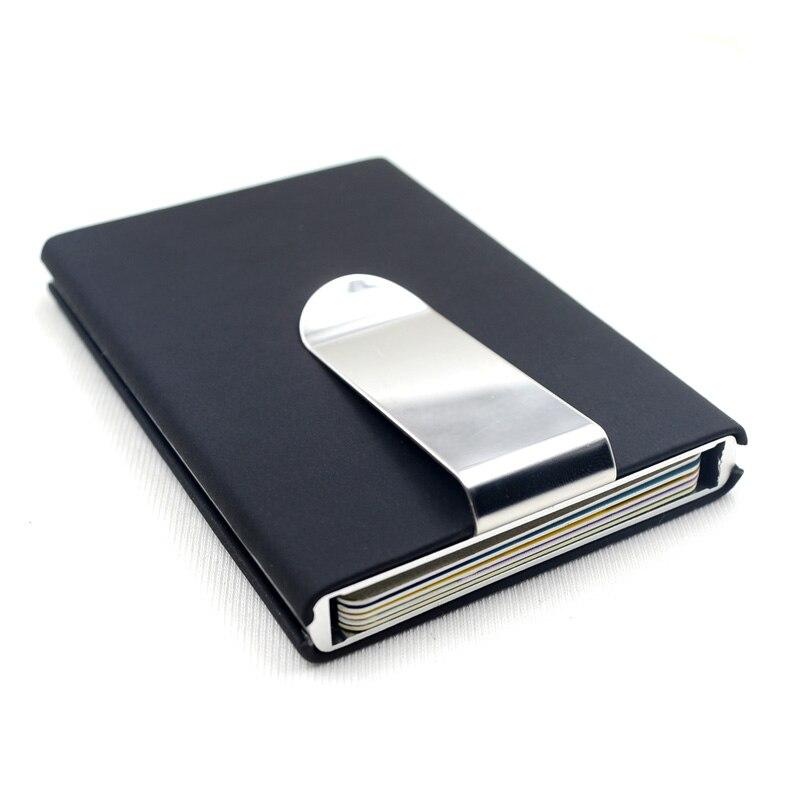 Calidad negra, tarjetero de crédito, caja de bolsillo para dinero en efectivo impermeable, tarjetero de aluminio para hombre de negocios, tarjetero de identificación, billeteras de regalo
