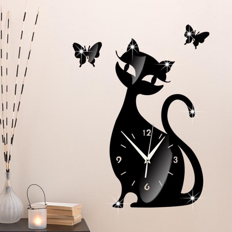 Lindo gato mariposa espejo negro Reloj de pared diseño moderno decoración del hogar reloj pared pegatina m14 30 +