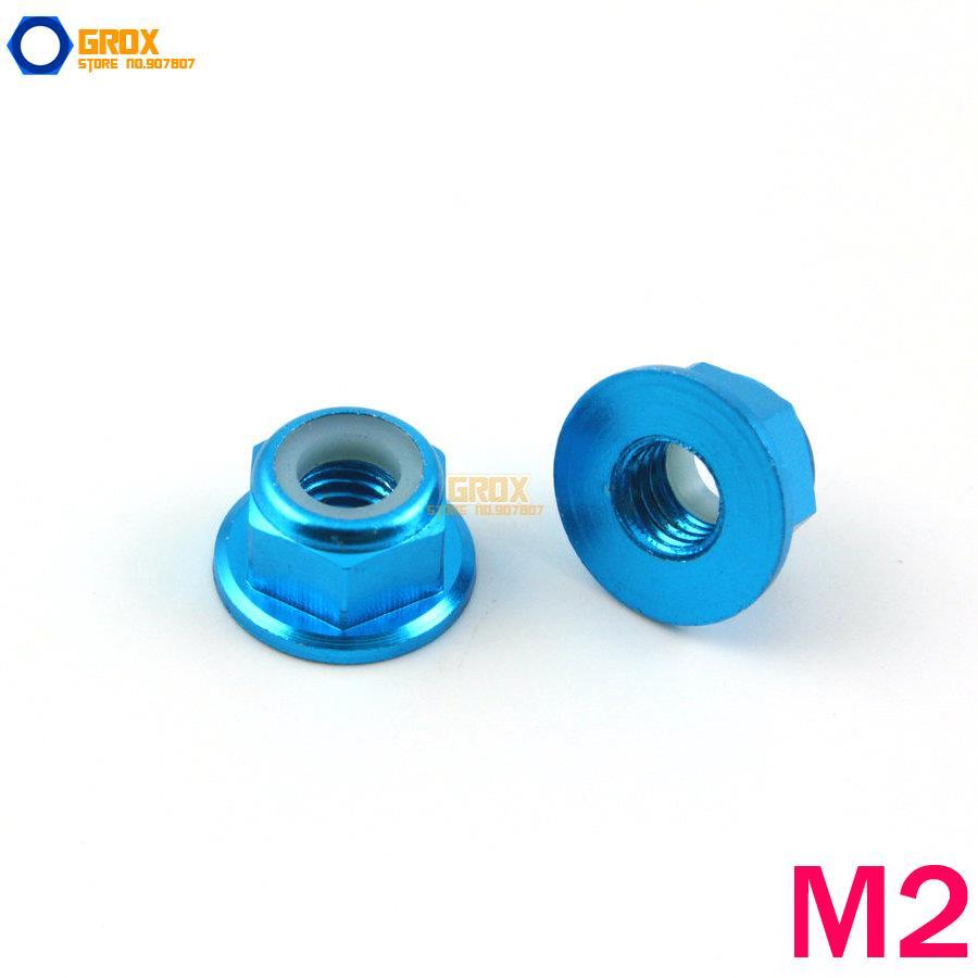 12 piezas M2 azul cielo hexagonal brida Nylon bloqueo tuerca aluminio