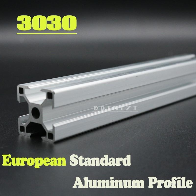 Venda quente 250mm a 800mm 3030 Padrão Europeu Anodizado Linear Rail Perfil De Alumínio Da Extrusão 3030 para DIY 3D impressora CNC