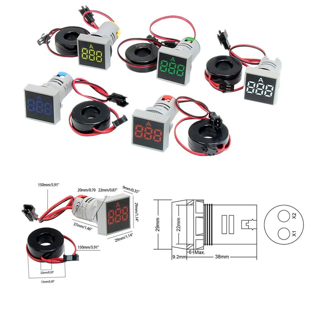 Amperímetro Digital de 22MM 0-100A, indicador de corriente, lámpara Led, luz de señal cuadrada, rojo, amarillo, verde, blanco, azul, Digital