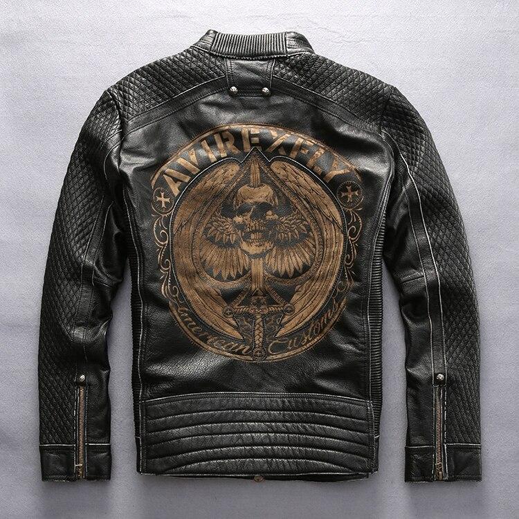 AVIREXFLY mâle en cuir veste 2016 nouveauté 100% réel peau de vache broderie crânes moto veste manteaux dhiver