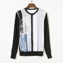 Cardigans tricotés de marque de créateur de luxe pour les femmes col rond contraste couleur cheval imprimé soie épissé laine pull tricoté