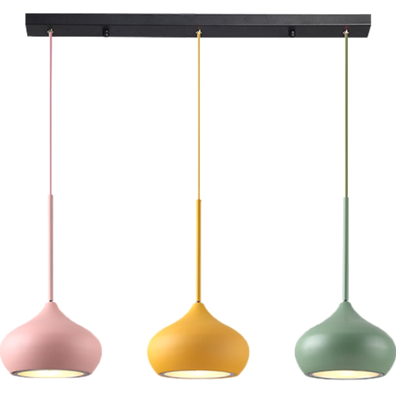 Macarons LED dining room pendant lights modern simple 3 lamps colorful creative foyer droplight kids room lighting fixture