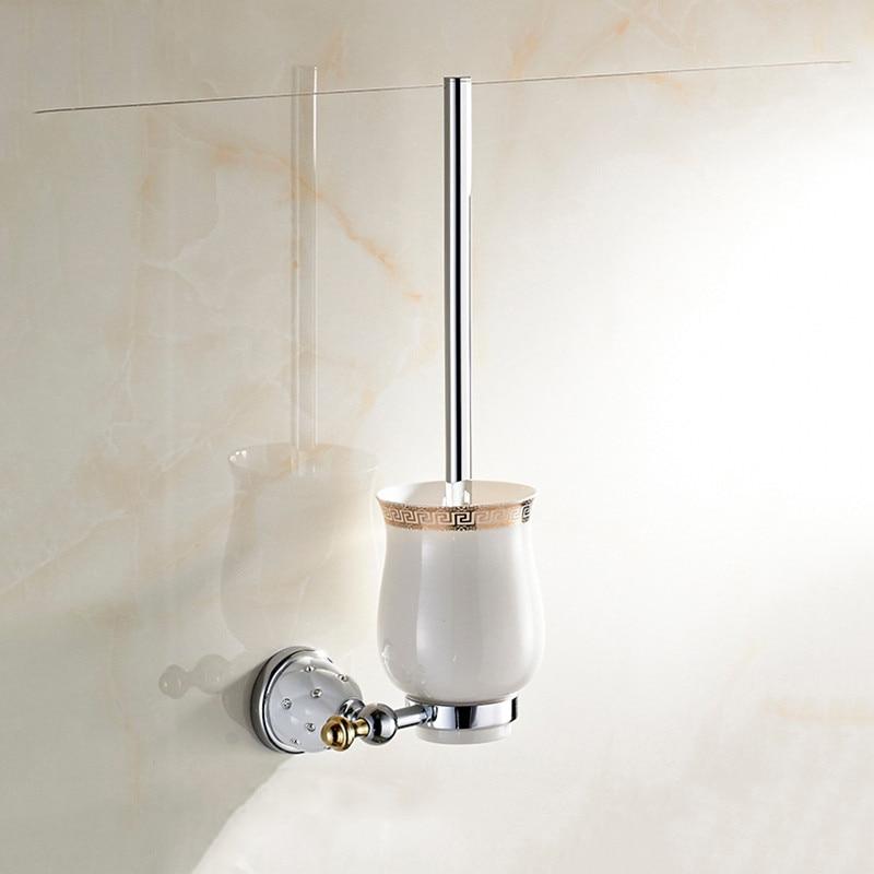 فرشاة تنظيف المرحاض العتيقة ، لمسة نهائية نحاسية ، حامل فرشاة المرحاض ، كوب سيراميك مثبت على الحائط ، ملحقات الحمام