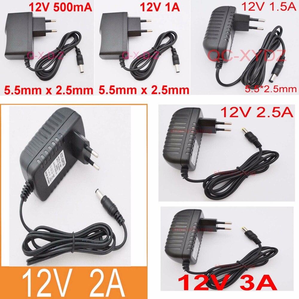 Convertisseur dalimentation 12V, 100 ma, 12V, 1a, 12V, 1,5 a, 12V, 2a, 12V, 2,5 a, 12V, 3a, AC, 240V-5.5 V, prise ue, 2.1mm x 2.5mm, 1 pièce