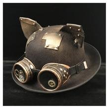 Retro Lolita Frauen Männer Steampunk Bowler Hut Patch Getriebe Gläser Topper Top Hüte Fedora Headwear Cosplay Billycock Bräutigam Hut