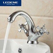 LEDEME robinet de bateau en laiton   Robinet de lavabo, Helmsman design, double support, robinet de salle de bains, robinets de cascade en Chrome moderne L1011