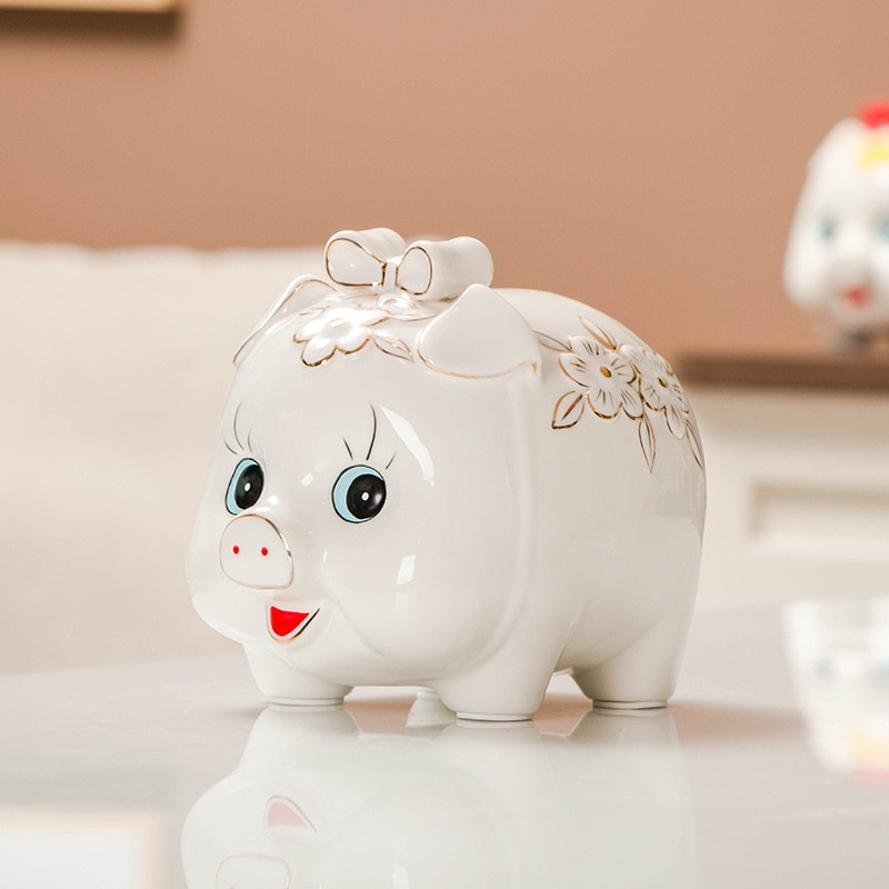 Pieza de oscilación Golden Pig, depósito de cerámica, depósito de dinero, hucha, hucha, regalo para niños, artesanía de animales de cerámica