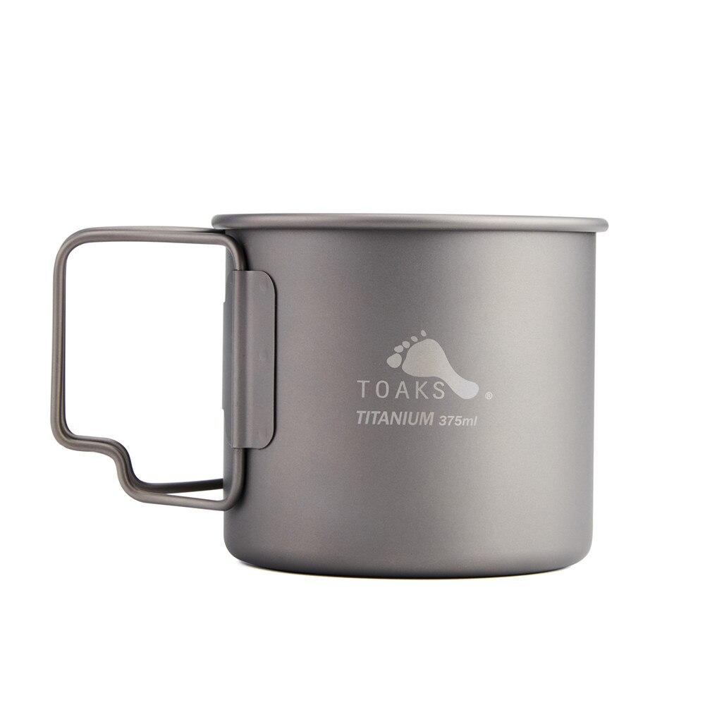 TOAKS Titan Becher Tasse Ohne Deckel Faltbare Griff Ultraleicht Für Outdoor Camping Kochgeschirr Kaffee Tee Becher Tasse 375ml 62g 2,2 unzen