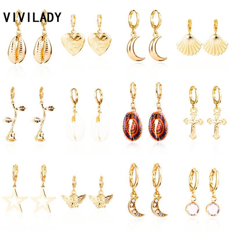 VIVILADY Trendy Moon Heart Cross Shell Flower Alloy Pendant Women Charming Hoop Earrings Chic Emboss Hot Sale SummerBrincos Gift