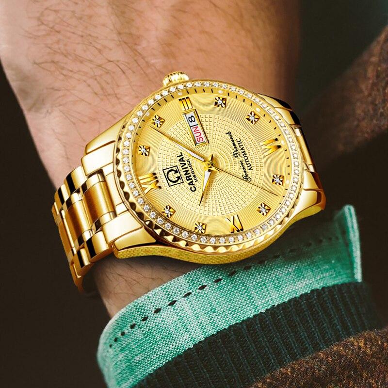 الذهب الفاخرة التلقائي الذاتي الرياح الرجال الأعمال عارضة الساعات الفولاذ الصلب حزام المعصم مضيئة الميكانيكية relogio masculino