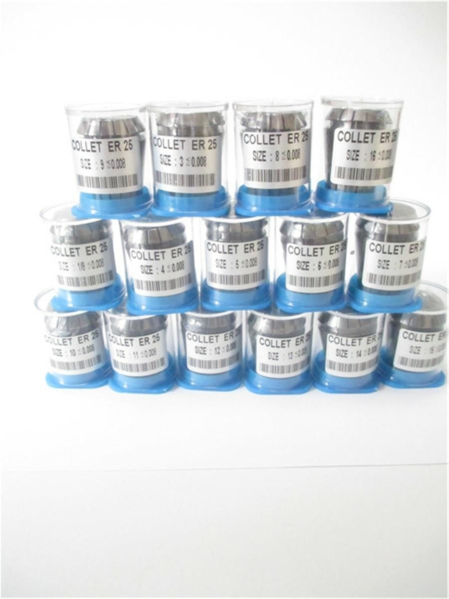 الشحن مجانا عالية الدقة 0.008 15 pcs ER25 collets إيه 25 أسطوانة معدنية مناسبة ل إيه كوليت تشاك حامل 0.008 دقة