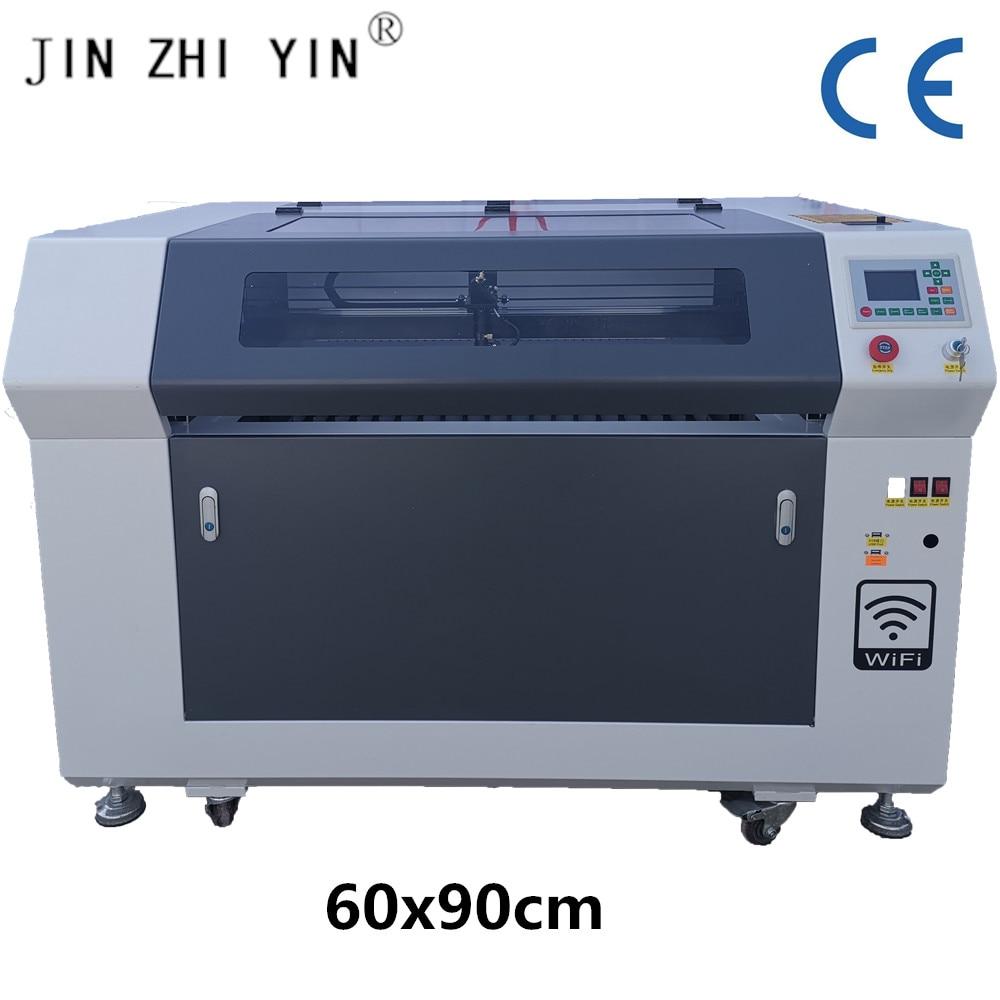 WIFI de 6090 de Control 100 w reci co2 máquina de grabado láser máquina de co2 máquina de grabado láser con madera de vidrio acrílico