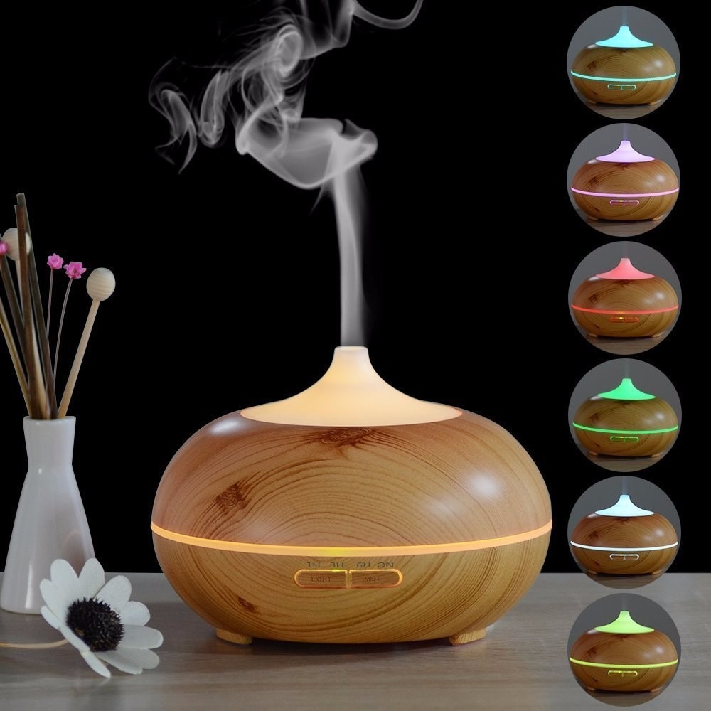 mini wooden aromatherapy humidifier aroma diffuser essential oil diffuser air purifier color changing led touch switch 7 Color Changing LED Light Aroma Diffuser 300ML Wood Grain Aromatherapy Essential Oil Diffuser Ultrasonic Air Humidifier