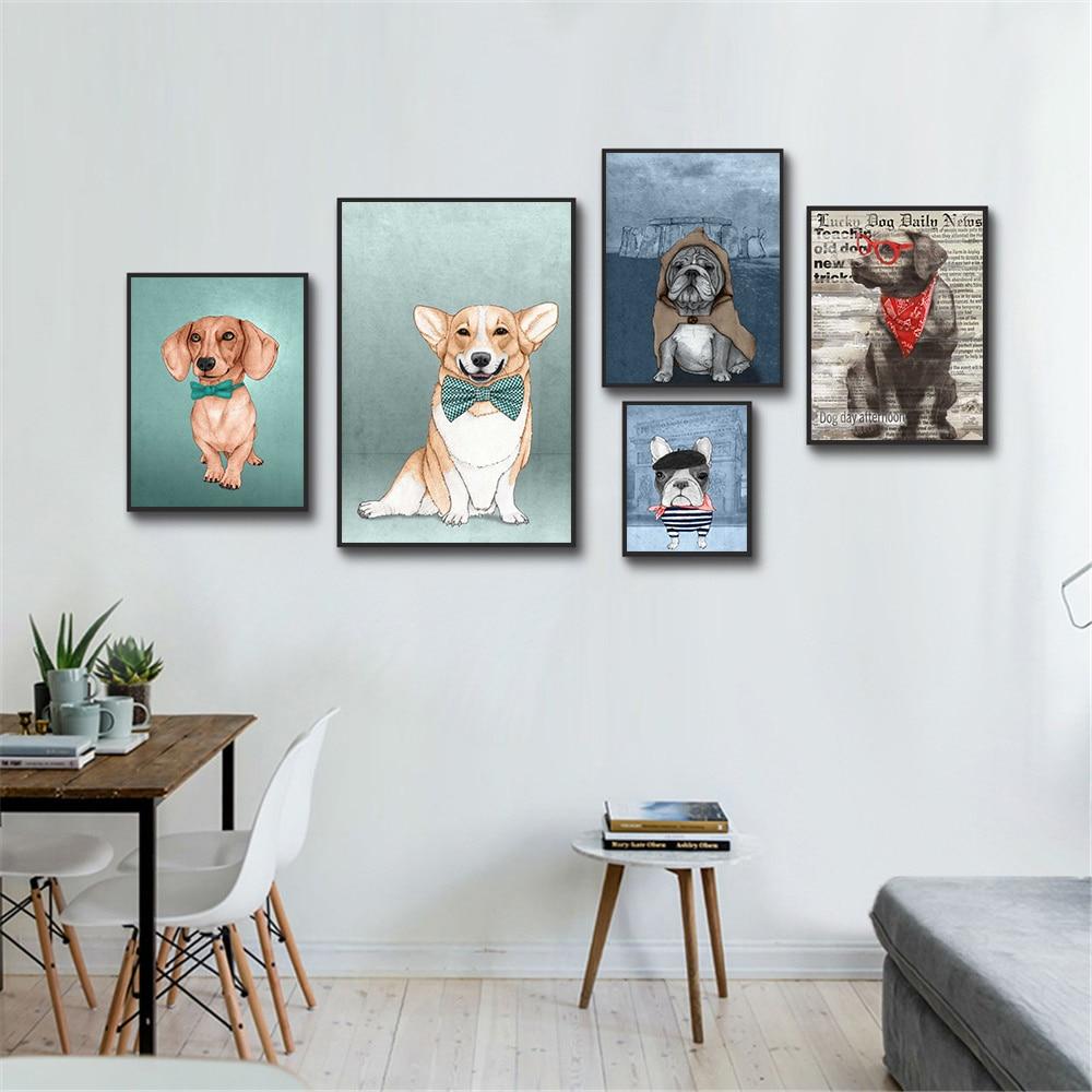 Póster de perro de acuarela para decoración del hogar, Cuadros de lienzo...