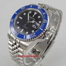 40mm PARNIS black dial Jubilee strap Sapphire glass blue ceramic bezel automatic mens watch