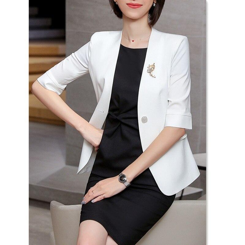 Blazer de verano para mujer, manga 3/4, cintura delgada, dos bolsillos, Blanco, Negro, Rosa, chaqueta, prendas de vestir femeninas