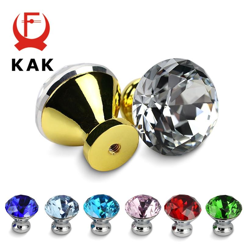 KAK 30mm Kitchen Cabinet Handles Diamond Shape Design Crystal Glass Knobs Cupboard Pulls Drawer Furniture Handle Hardware