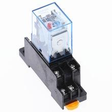 HH52P MY2NJ Relay Coil General DPDT Micro Mini Electromagnetic Relay Switch with Socket Base  AC 110V 220V DC 12V 24V