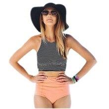 Swimwear Swimsuits Bikini Set Sport Tank Striped Summer Pink/orange S-XL Women   Separates Pants Briefs High Waist M L XL