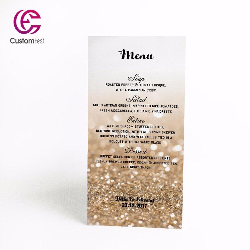 50 unids/lote menú personalizado diseño brillante menú completo disponible MU048