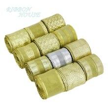 40mm Gold polyester ribbons Christmas packaging ribbon high-grade quality squares ribbon wholesale