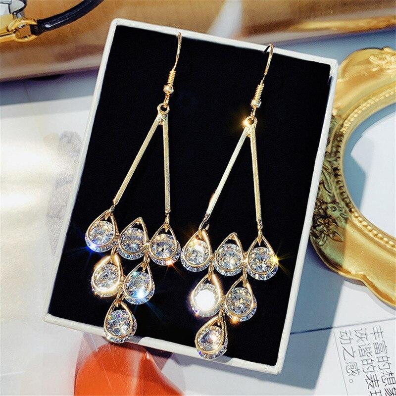 Pendientes largos de borla FYUAN para mujer, bisutería, gota de agua, cuentas de cristal, Pendientes colgantes, regalos de joyería de moda