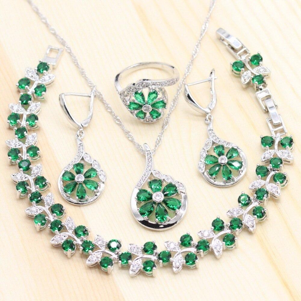 Moda Verde piedras Semi-preciosas juegos de joyas para mujer en forma de flor anillo pendientes colgante collar de pulsera de regalo de cumpleaños