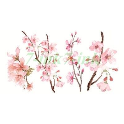 Tatuaje de transferencia de agua Rosa romántica Flor de melocotón flores de cerezo impermeable niños tatuaje temporal falso tatuaje para adultos