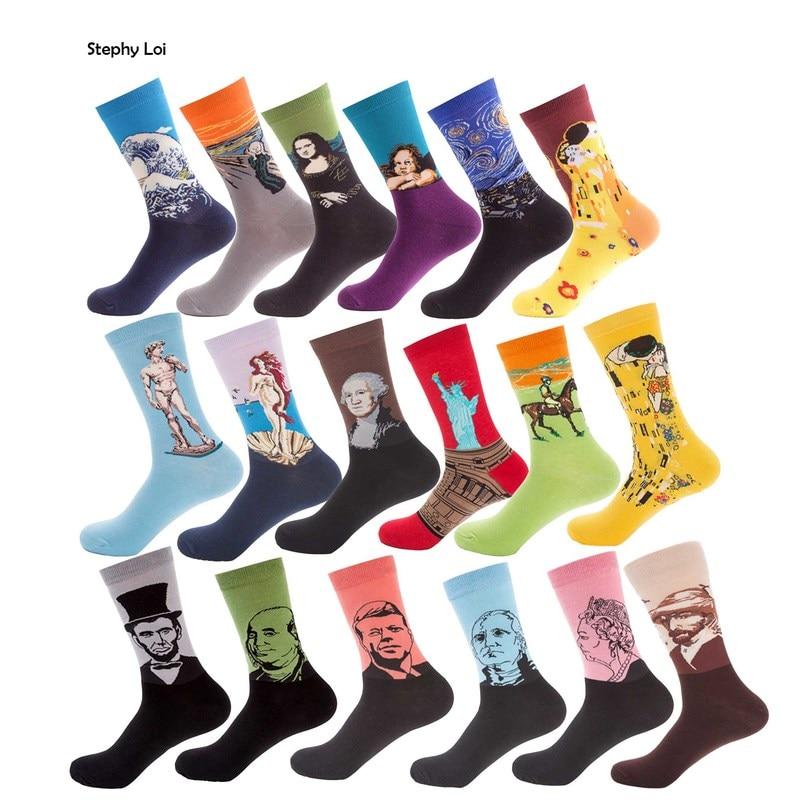 Мужские носки в стиле ретро, 6 пар/лот, носки из чесаного хлопка с рисунком звездной ночи, Ван Гога, знаменитая картина, забавная Новинка, упаковка Sox, Харадзюку